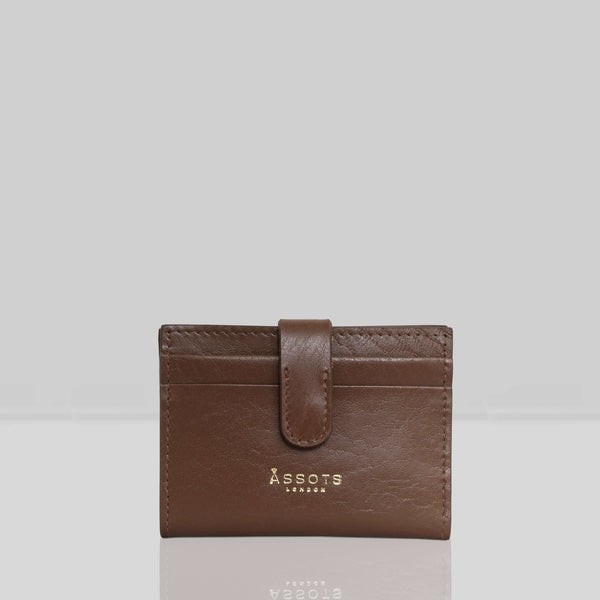 'GROVE' Tan Smooth RFID Tab-over Leather Credit Card Holder