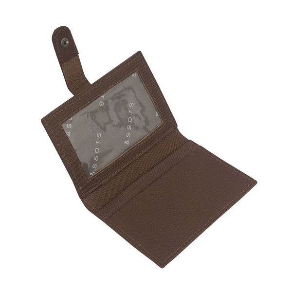 'GROVE' Tan Lizard RFID Tab-over Leather Credit Card Holder