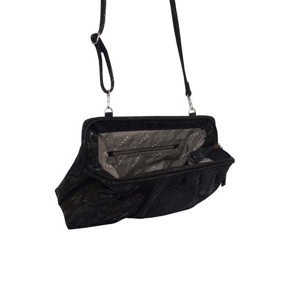 'Harper' Black Python Snake Print Real Leather Oversized Clutch Bag
