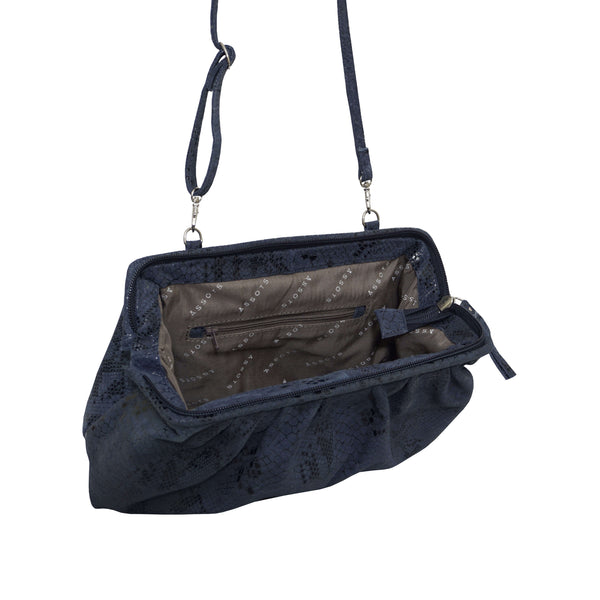 'Harper' Navy Python Snake Print Real Leather Oversized Clutch Bag