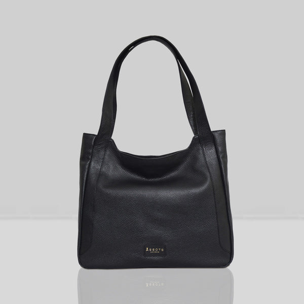 'Harriet' Black Pebble Grain Real Leather Slouchy Hobo Bag