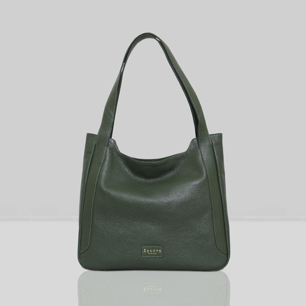 'Harriet' Olive Green Pebble Grain Real Leather Slouchy Hobo Bag