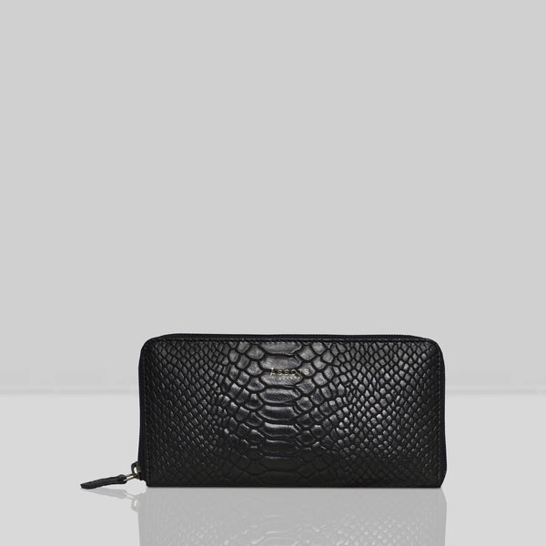 'HAZEL' Black Python Real Leather Zip Around Purse