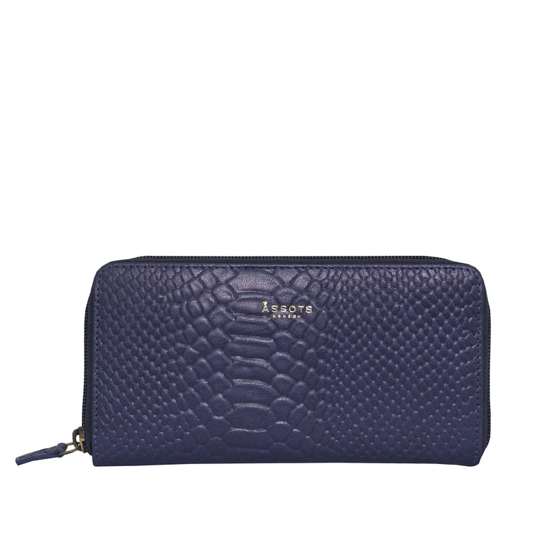 'HAZEL' Navy Python Real Leather Zip Around Purse