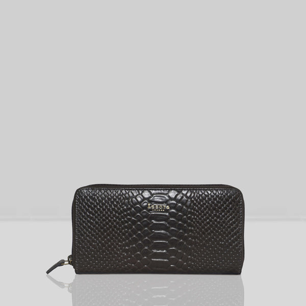 'HAZEL' Dark Grey Python Real Leather Zip Around Purse
