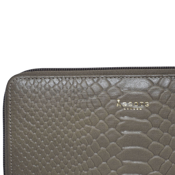 'HAZEL' Olive Python Real Leather Zip Around Purse