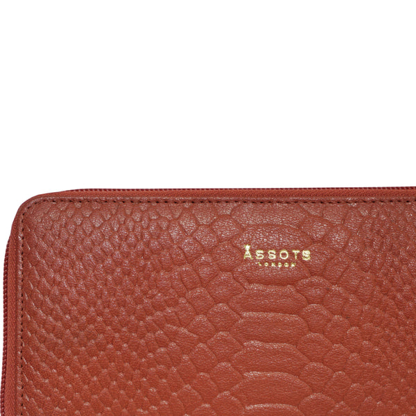 'HAZEL' Red Python Real Leather Zip Around Purse