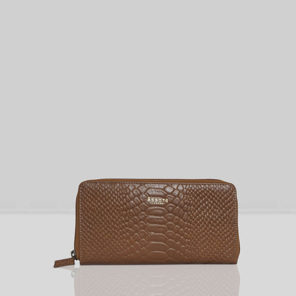 'HAZEL' Tan Python Real Leather Zip Around Purse