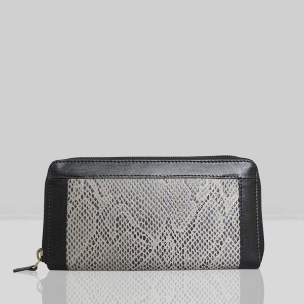 'Heidi' Black Animal Snake Print Real Leather Designer Ladies Purse