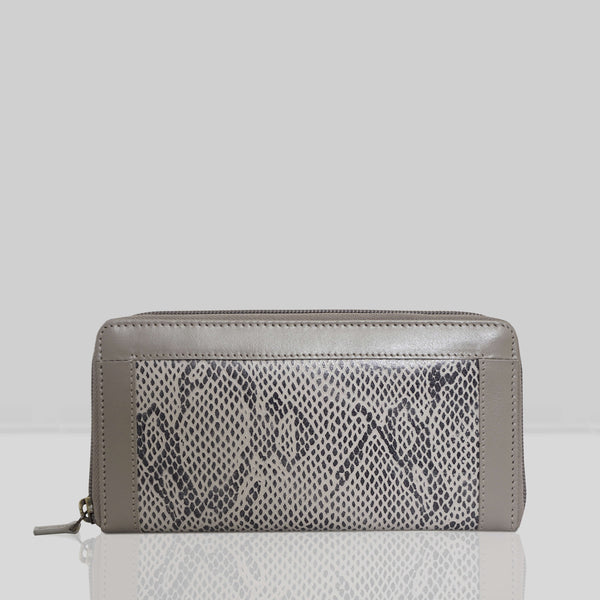 'Heidi' Grey Animal Snake Print Real Leather Designer Ladies Purse