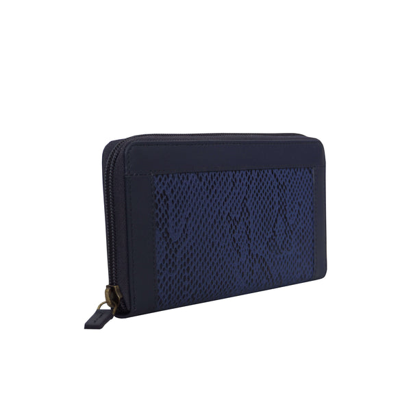 'Heidi' Navy Animal Snake Print Real Leather Designer Ladies Purse