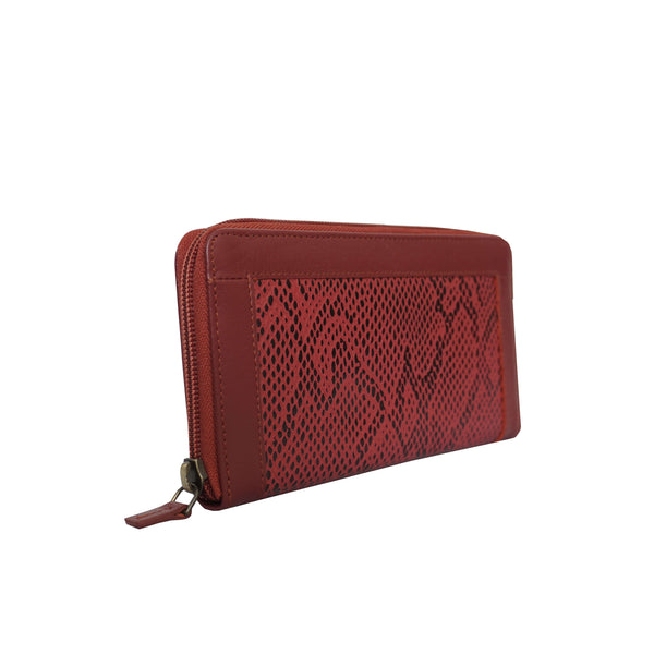 'Heidi' Red Animal Snake Print Real Leather Designer Ladies Purse