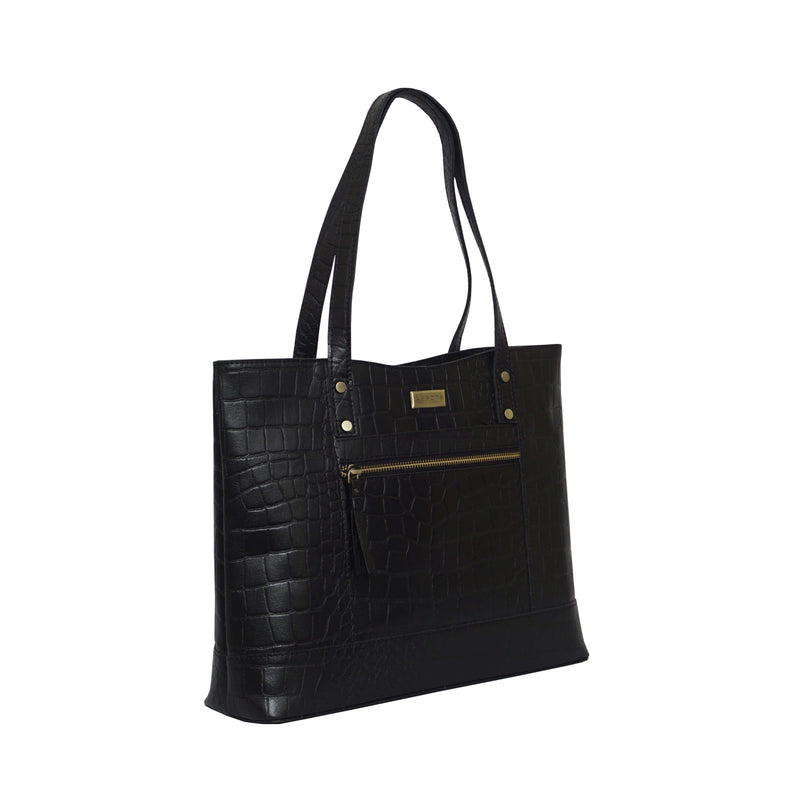 'HELENE' Black Croc Designer Leather Grab Bag
