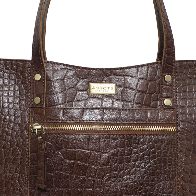 'HELENE' Brown Croc Designer Leather Grab Bag