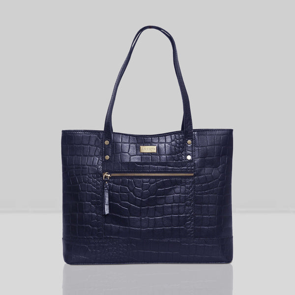 'HELENE' Navy Croc Designer Leather Grab Bag