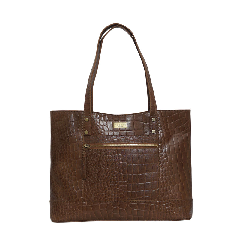 'HELENE' Tan Croc Designer Leather Grab Bag