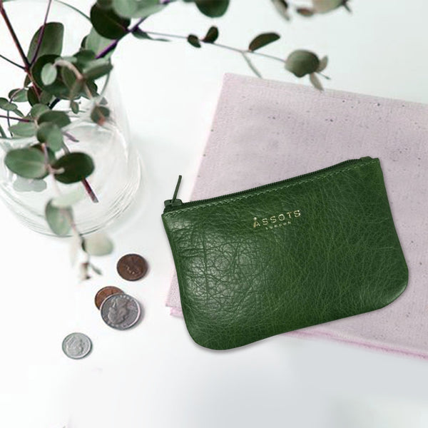 'Poppy' Tree Top Green Full Grain Leather Zip Top Coin Purse