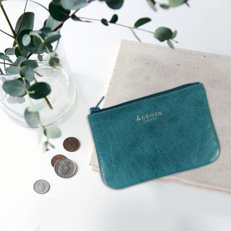 'Poppy' Ocean Blue Full Grain Leather Zip Top Coin Purse