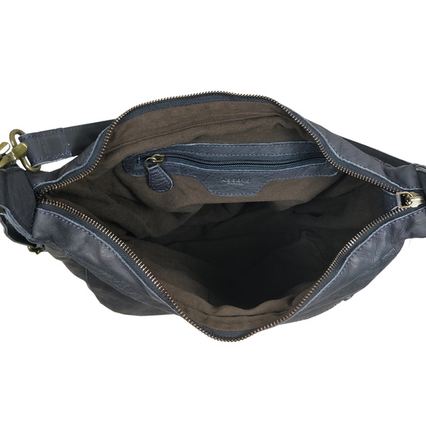'JAMES' -  Navy Vintage Aqua Leather Shoulder Bag