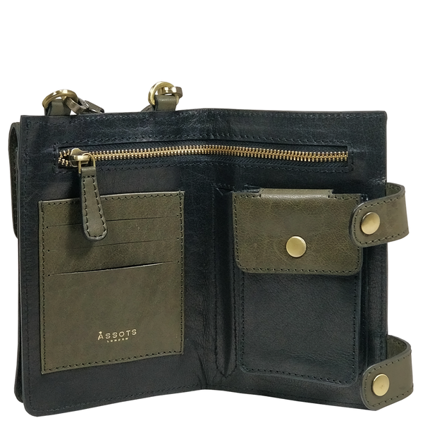 'SPADE' Black & Olive Vintage Leather Bifold Mini Crossbody bag