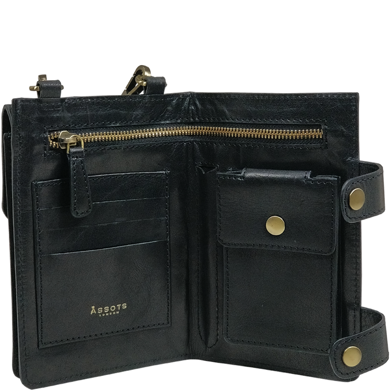 'SPADE' - Black Vintage Leather Bifold Mini Travel Crossbody bag