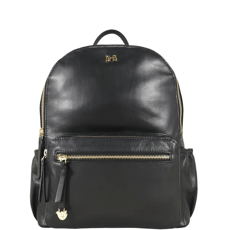 'ISABELLA' Black Lightweight Luxurious Baby Changing/Diaper Leather Backpack