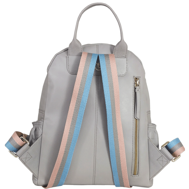 'ISABELLA' Grey Lightweight Luxurious Baby Changing/Diaper Leather Backpack