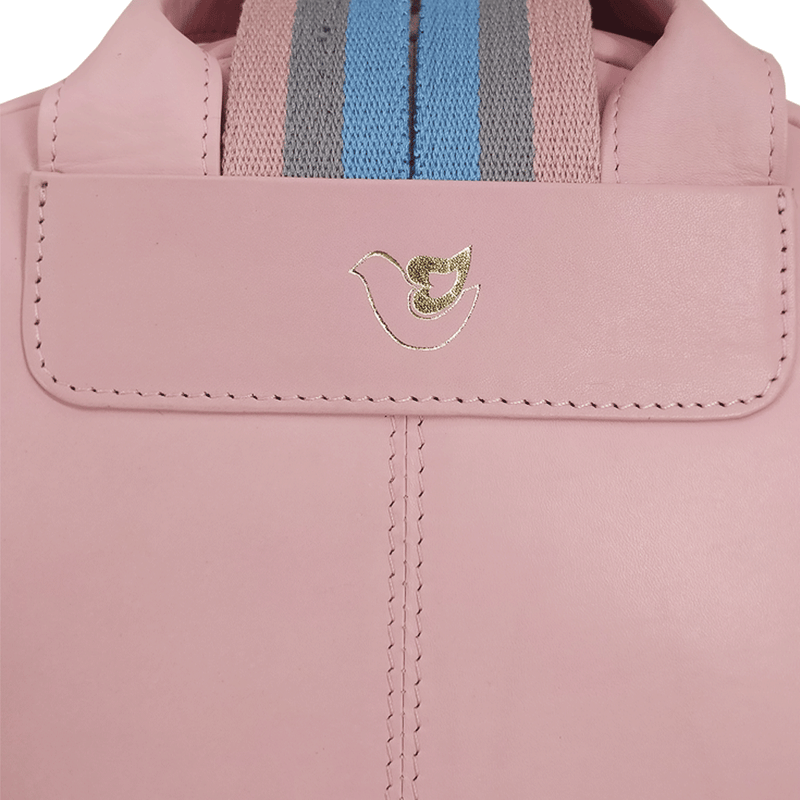 'ISABELLA' Baby Pink Lightweight Luxurious Baby Changing/Diaper Leather Backpack
