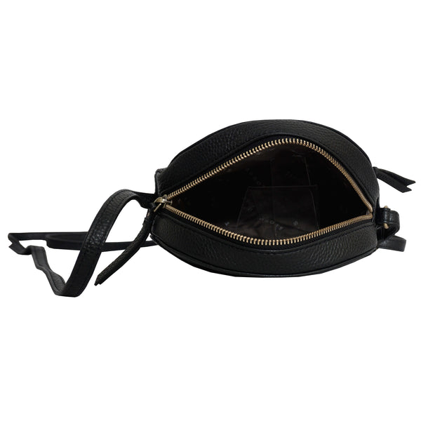 'Jane' Black Pebble Grain Leather Round Crossbody Bag