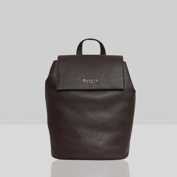 'JERMYN' Classic Mokka Brown Full Grain Leather Flap-over Backpack