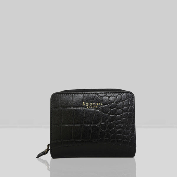 'JOLLY' Black Vintage Croc Real Leather Designer Zip-Top Wallet