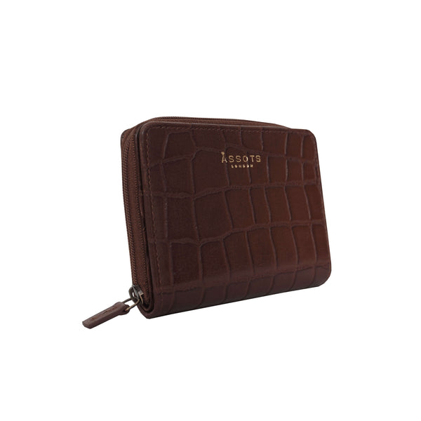 'JOLLY' Brown Vintage Croc Real Leather Designer Zip-Top Wallet