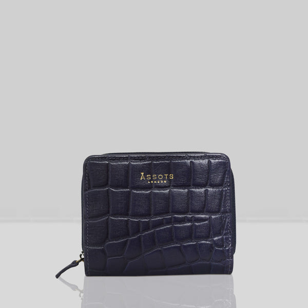 'JOLLY' Navy Vintage Croc Real Leather Designer Zip-Top Wallet