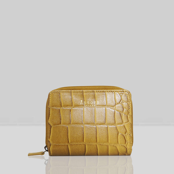 'JOLLY' Mustard Vintage Croc Real Leather Designer Zip-Top Wallet