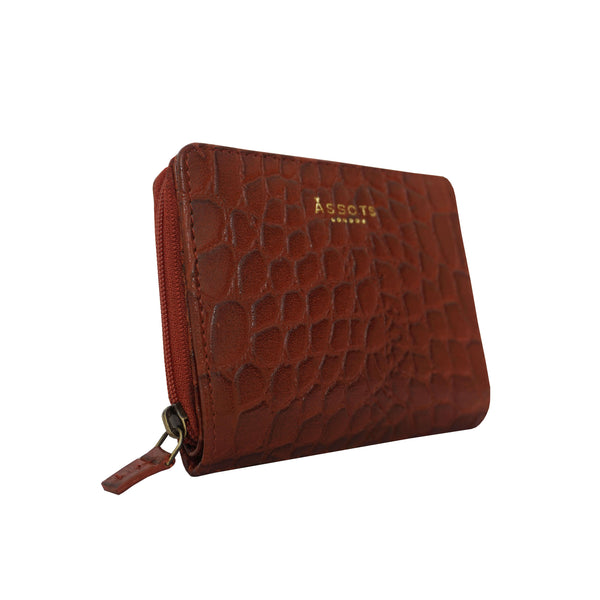 'JOLLY' Red Vintage Croc Real Leather Designer Zip-Top Wallet