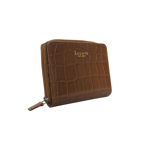'JOLLY' Tan Vintage Croc Real Leather Designer Zip-Top Wallet