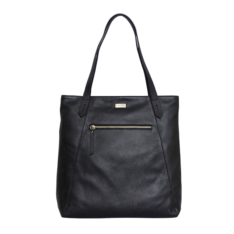 'KATE' Black Soft Natural Pebble Grain Leather Tote Bag