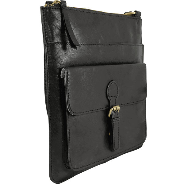 'KENTON' - Black Vintage Leather Crossbody Shoulder Sling bag