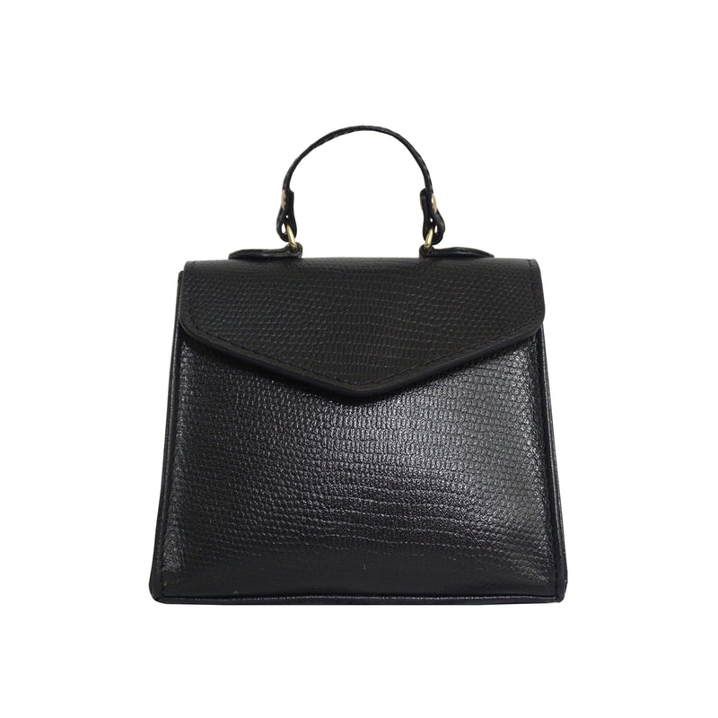'Kylie' Black Lizard Leather Mini Grab Bag