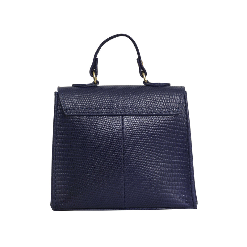 'Kylie' Navy Lizard Leather Mini Grab Bag