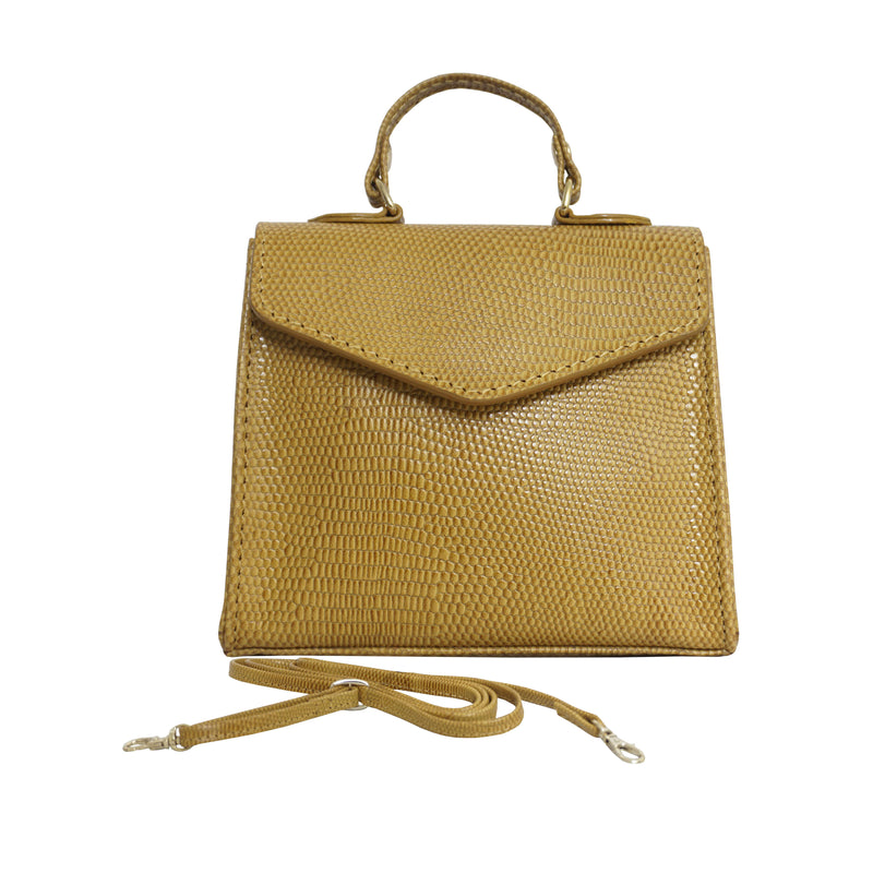 'Kylie' Ochre Lizard Leather Mini Grab Bag