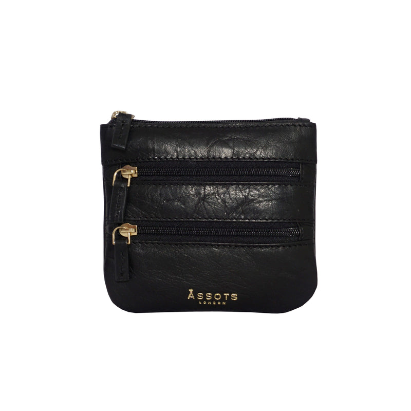 'LAURA' Black Soft Small Zip Top Leather Coin Purse