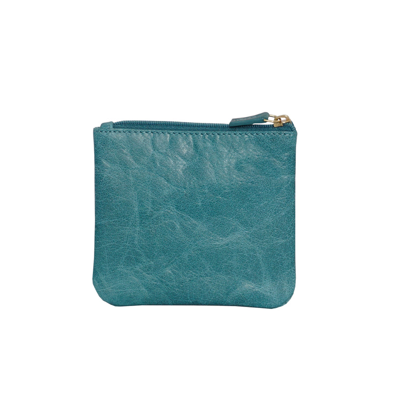 'LAURA' Ocean Blue Soft Small Zip Top Leather Coin Purse