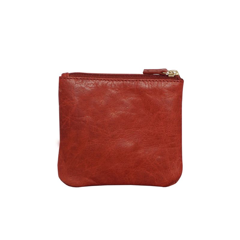 'LAURA' Red Soft Small Zip Top Leather Coin Purse