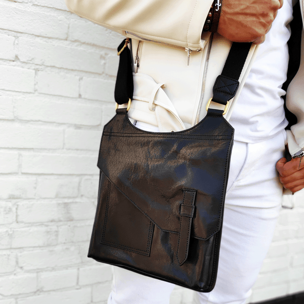 'LILY' Black Vintage Leather Crossbody Bag