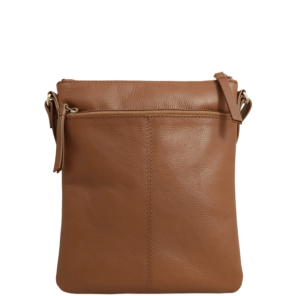 'LINBY' - Tan Pebble Grain Leather Crossbody Sling Bag