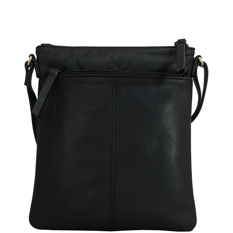 'LINBY' Black Pebble Grain Leather Crossbody Bag