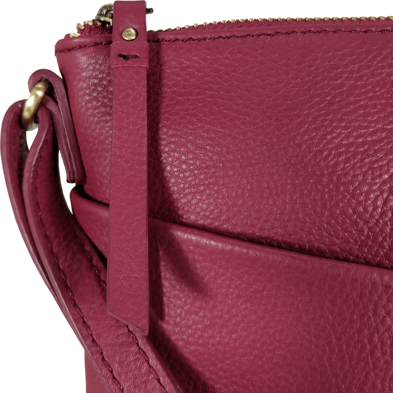 'LINBY' Carmine Pink Pebble Grain Leather Crossbody Sling Bag