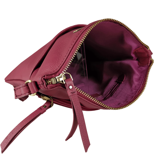 'LINBY' - Carmine Pink Pebble Grain Leather Crossbody Sling Bag