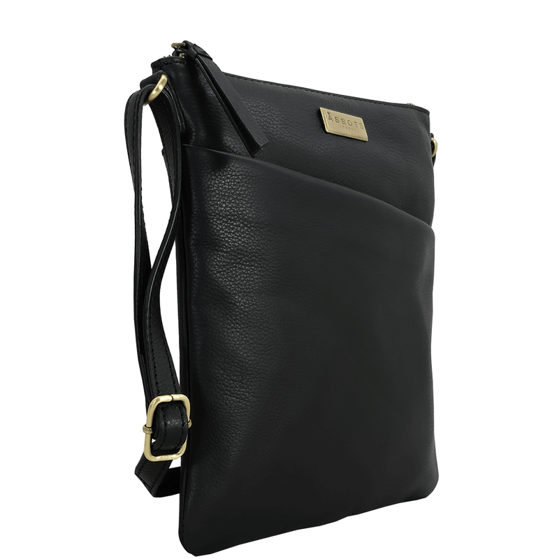 'LINBY' - Black Pebble Grain Leather Crossbody Bag